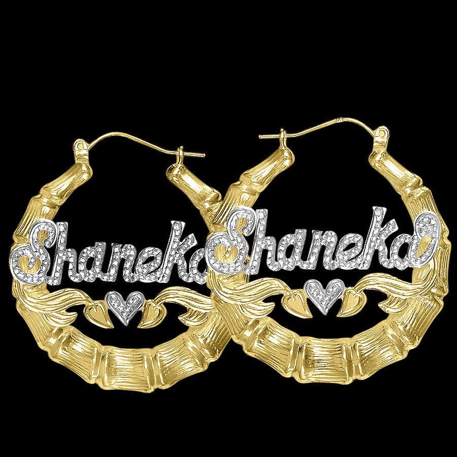 Medium Bamboo Name Earrings by Purple Mermaid Designs Apparel & Accessories > Jewelry > Earrings - 1