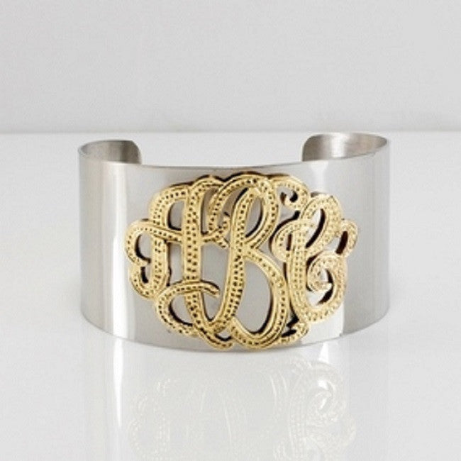 Silver and Gold Monogram Thick Cuff Bracelet by Purple Mermaid Designs