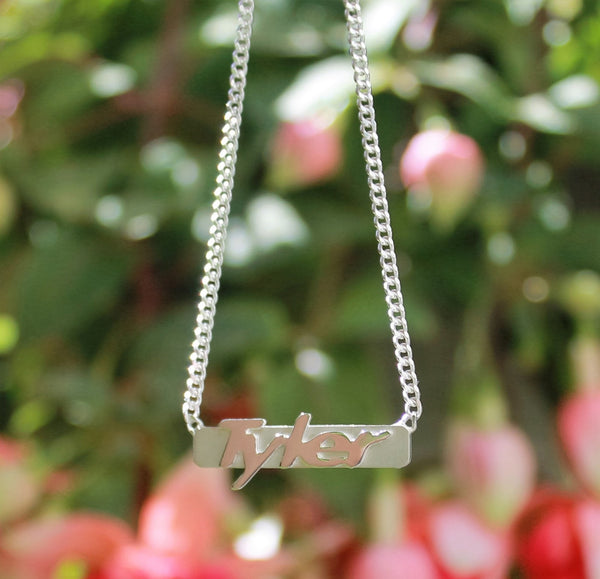 sterling silver raised letter bar necklace