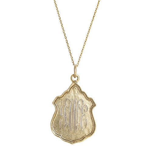 14K Gold Filled Large Royal Crest Monogram Necklace Apparel & Accessories > Jewelry > Necklaces - 1
