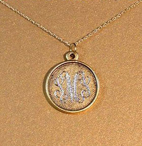 14K Gold Filled Rimmed Engraved Disc Necklace Apparel & Accessories > Jewelry > Necklaces - 2