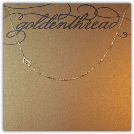 14K Gold Sideways Initial Necklace Apparel & Accessories > Jewelry > Necklaces - 2