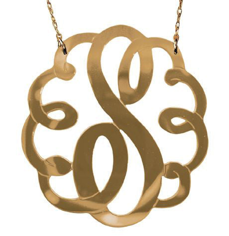 Gold Swirly Initial Necklace by Jane Basch Apparel & Accessories > Jewelry > Necklaces - 2