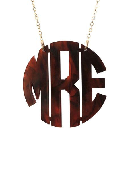 Acrylic Round Monogram Necklace by Moon and Lola Apparel & Accessories > Jewelry > Necklaces - 1