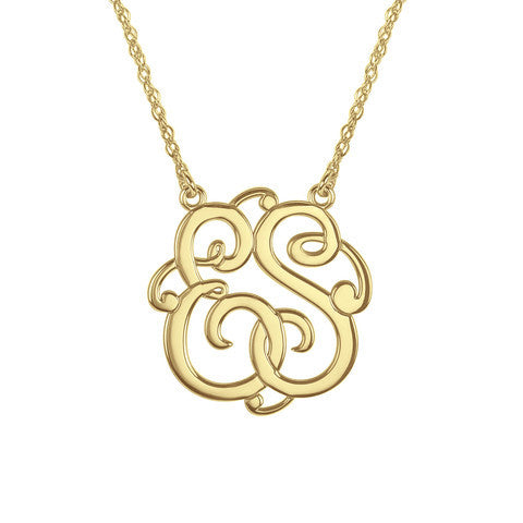 Classic Script Two Initial Monogram Necklace Apparel & Accessories > Jewelry > Necklaces - 1