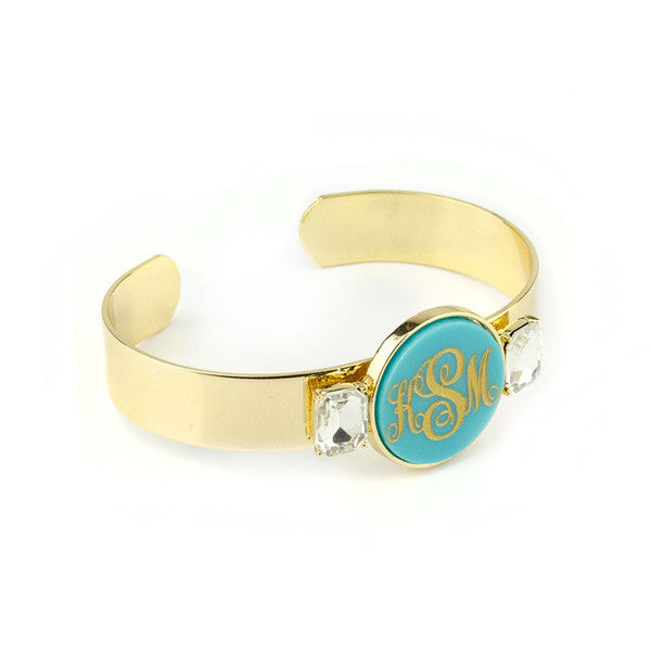 Valla Acrylic Monogram Cuff Bracelet - Moon and Lola Apparel & Accessories > Jewelry > Bracelets - 2