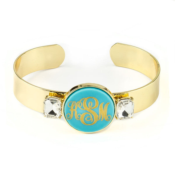 Valla Acrylic Monogram Cuff Bracelet - Moon and Lola Apparel & Accessories > Jewelry > Bracelets - 1