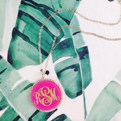 Gold Monogram Necklace - Vannes CZ - Moon and Lola Apparel & Accessories > Jewelry > Necklaces - 1