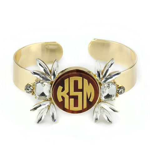 Gold Monogram Cuff Bracelet - Vienna CZ - Moon and Lola Apparel & Accessories > Jewelry > Bracelets - 1