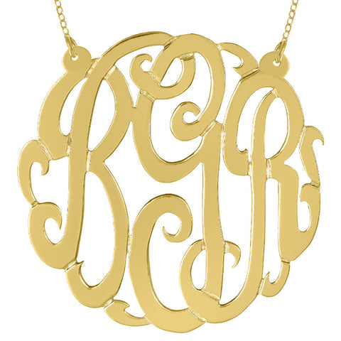 Gold Monogram Necklace on Split Chain by Purple Mermaid Designs Apparel & Accessories > Jewelry > Necklaces - 1