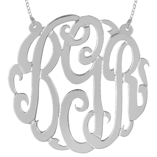 Sterling Silver Monogram Split Chain Necklace-Purple Mermaid Designs Apparel & Accessories > Jewelry > Necklaces - 1