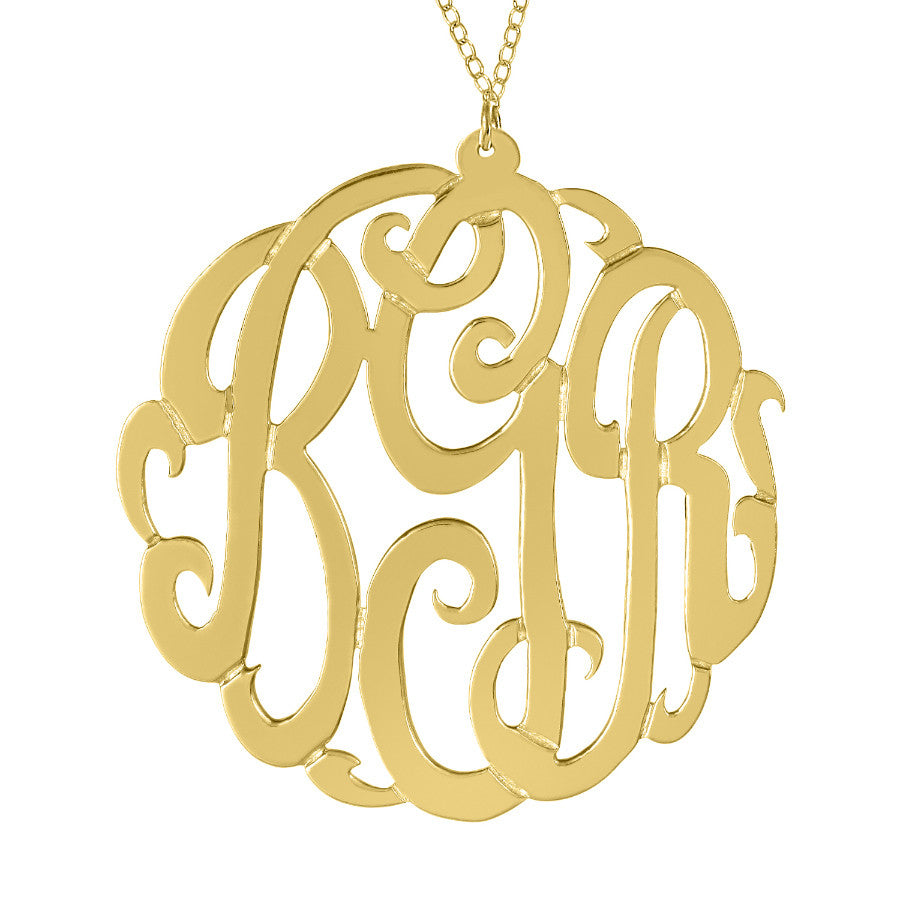 Gold Monogram Necklace by Purple Mermaid Designs Apparel & Accessories > Jewelry > Necklaces - 1