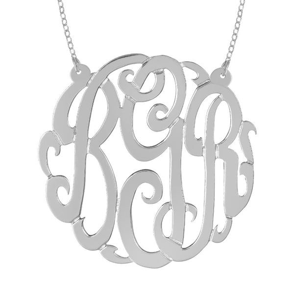 Sterling Silver Monogram Split Chain Necklace-Purple Mermaid Designs Apparel & Accessories > Jewelry > Necklaces - 2