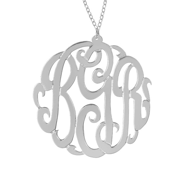 Sterling Silver Monogram Necklace by Purple Mermaid Designs Apparel & Accessories > Jewelry > Necklaces - 3