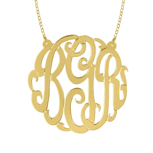 Gold Monogram Necklace on Split Chain by Purple Mermaid Designs Apparel & Accessories > Jewelry > Necklaces - 3