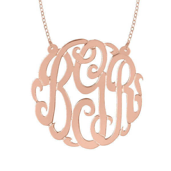 Rose Gold Plated Monogram Split Chain Necklace-Purple Mermaid Designs Apparel & Accessories > Jewelry > Necklaces - 3