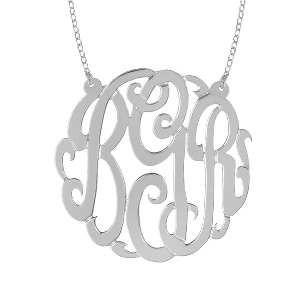 Sterling Silver Monogram Split Chain Necklace-Purple Mermaid Designs Apparel & Accessories > Jewelry > Necklaces - 3