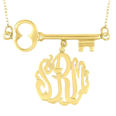 Skeleton Key Monogram Necklace by Purple Mermaid Designs Apparel & Accessories > Jewelry > Necklaces - 1