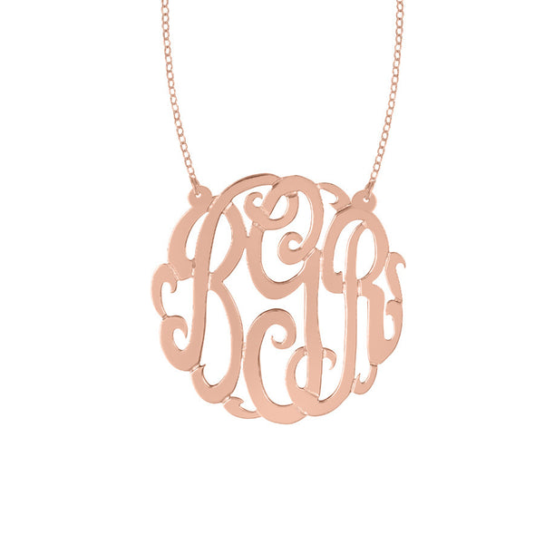 Rose Gold Plated Monogram Split Chain Necklace-Purple Mermaid Designs Apparel & Accessories > Jewelry > Necklaces - 4