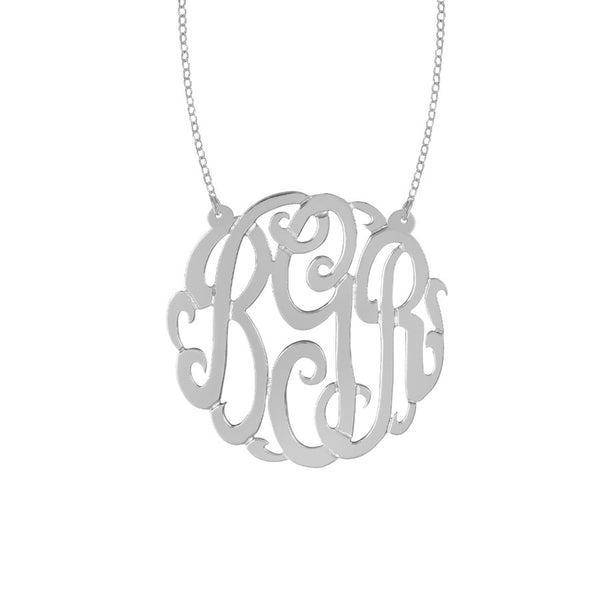 Sterling Silver Monogram Split Chain Necklace-Purple Mermaid Designs Apparel & Accessories > Jewelry > Necklaces - 4