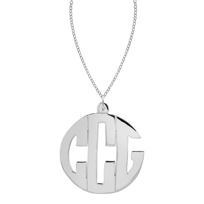 Sterling Silver Block Monogram Necklace by Purple Mermaid Designs Apparel & Accessories > Jewelry > Necklaces - 1