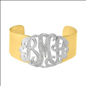Mixed Metal Monogram Wide Cuff Bracelet by Purple Mermaid Designs Apparel & Accessories > Jewelry > Bracelets