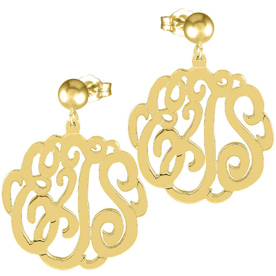 Gold Script Post Dangle Earrings by Purple Mermaid Designs Apparel & Accessories > Jewelry > Earrings