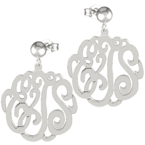Sterling Silver Script Post Dangle Earrings by Purple Mermaid Designs Apparel & Accessories > Jewelry > Earrings