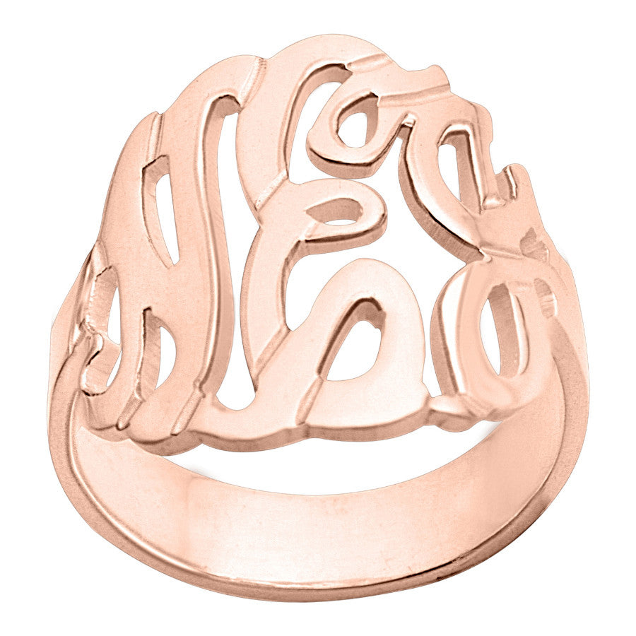 Rose Gold Monogram Ring~7/8 Inch by Purple Mermaid Designs Apparel & Accessories > Jewelry > Rings - 1