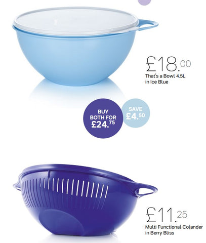 That's a Bowl 4.5L Ice Blue/Colander Berry Bliss - Saving on Both!