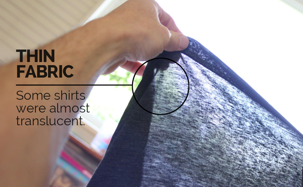 t-shirt fabric too thin - poor quality