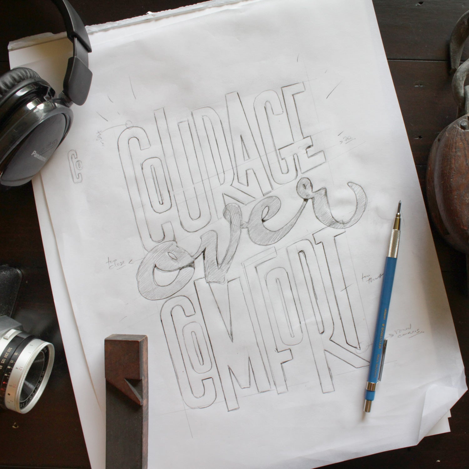 hand lettering - Courage Over Comfort