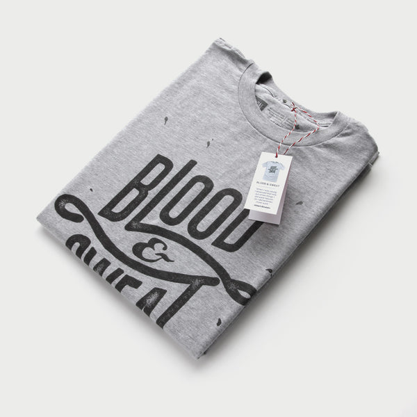 Blood Sweat (Heather Grey) - Minimal t-shirt design by Design Different