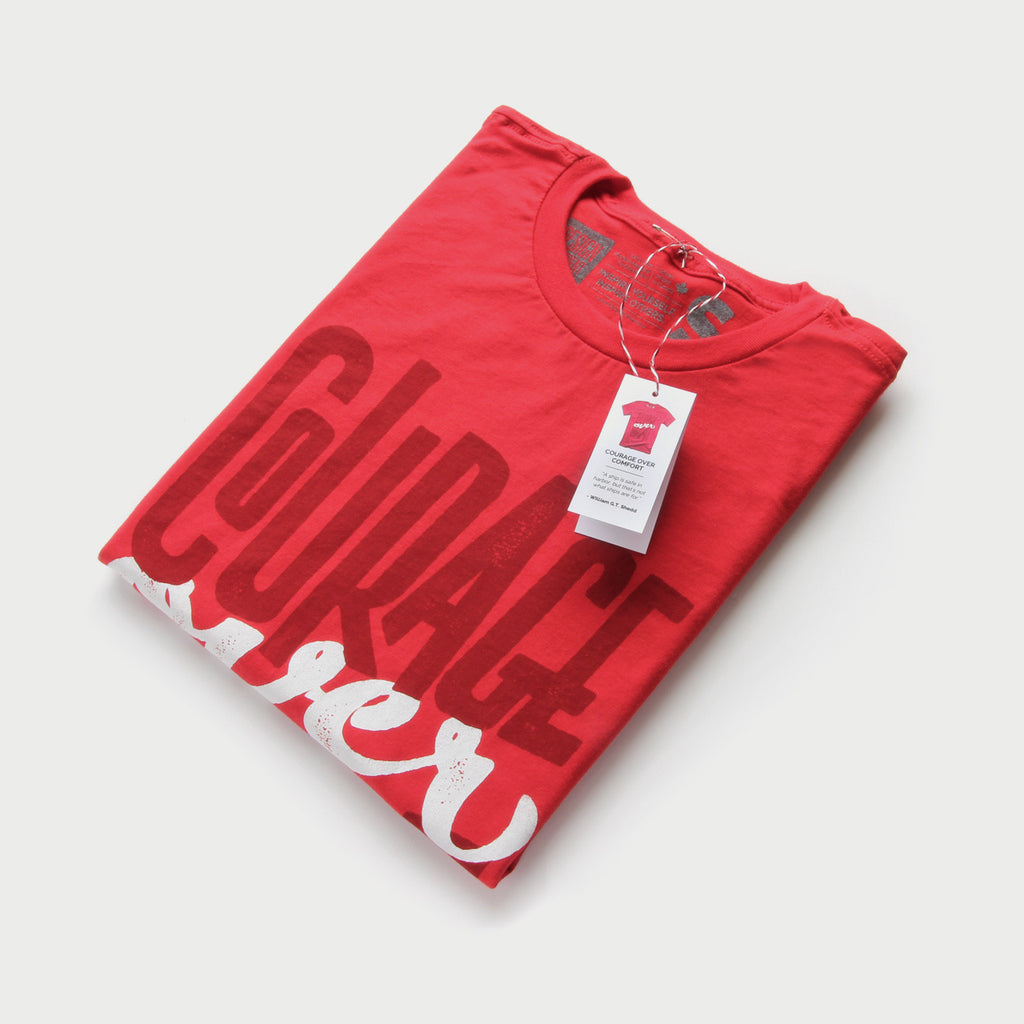 Shirt design red -  Courage Over Comfort Minimal T Shirt Design By Design Different