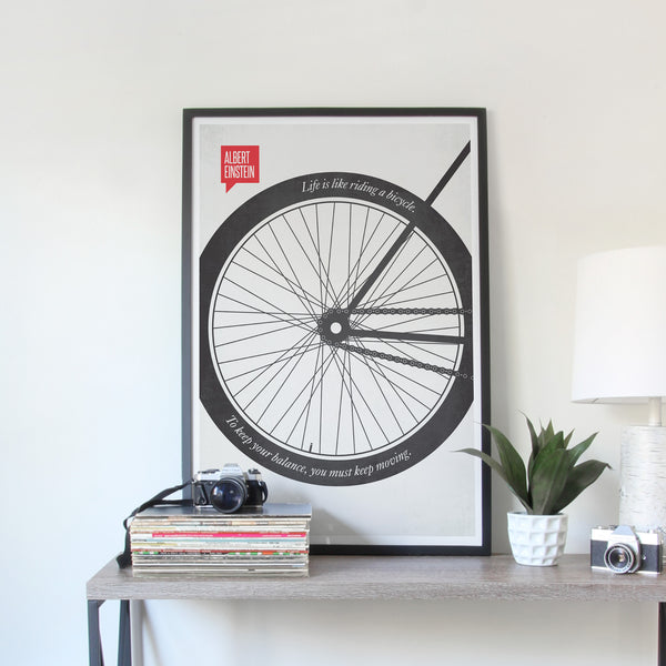 Albert Einstein Minimalist Poster Quote Bicycle