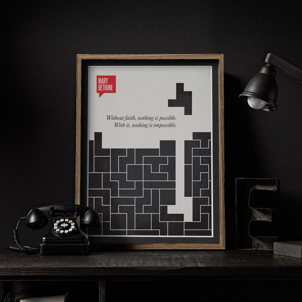 Minimalist Poster Quote Mary Bethune - Tetris Poster