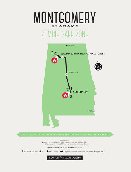 map of Montgomery - zombie safe zone