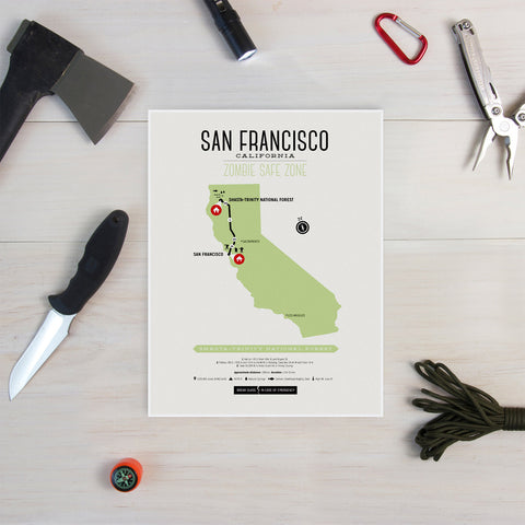 Zombie Safe Zone - San Francisco Map