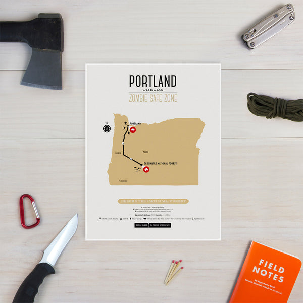 Zombie Safe Zone - Portland Map