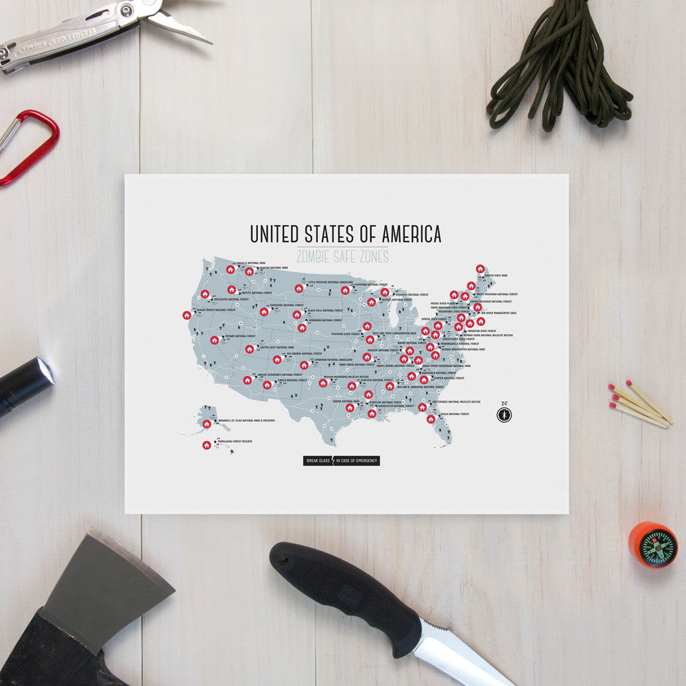 USA Zombie Safe Zones Design Different - Map of usa with zones