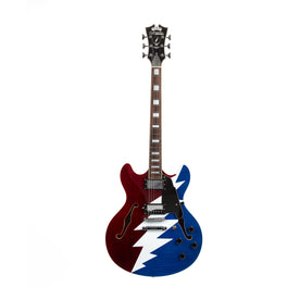 D'Angelico Premier Grateful Dead DC Semi-Hollow Electric Guitar, Red White & Blue, US6074