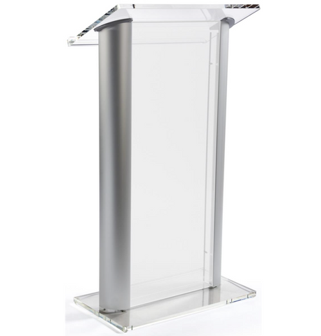 Frosted Plastic Podium With Aluminum Sides