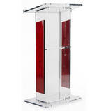 Clear Acrylic Podium With Wood Trim And Shelf