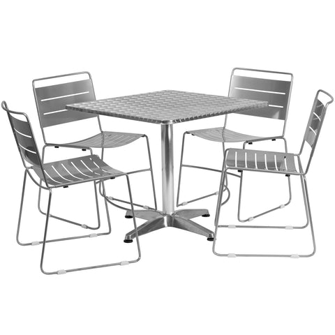 Aluminum Indoor-Outdoor Table With Chairs