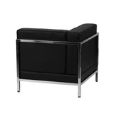 Contemporary Black Leather Left Corner Chair