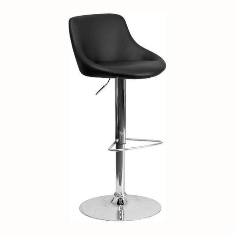 BLACK VINYL ADJUSTABLE HEIGHT BAR STOOL