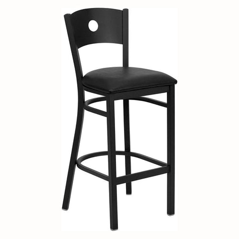 BLACK CIRCLE BACK METAL BAR STOOL