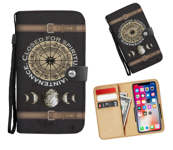 Glossy Brown Zodiac Circle + Moon Phases Wallet Phone Case - Hand Made to Order - falooka