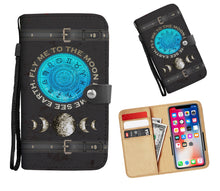 Load image into Gallery viewer, Zodiac + Silver Moon Phases Wallet Phone Case - Hand Made to Order - falooka
