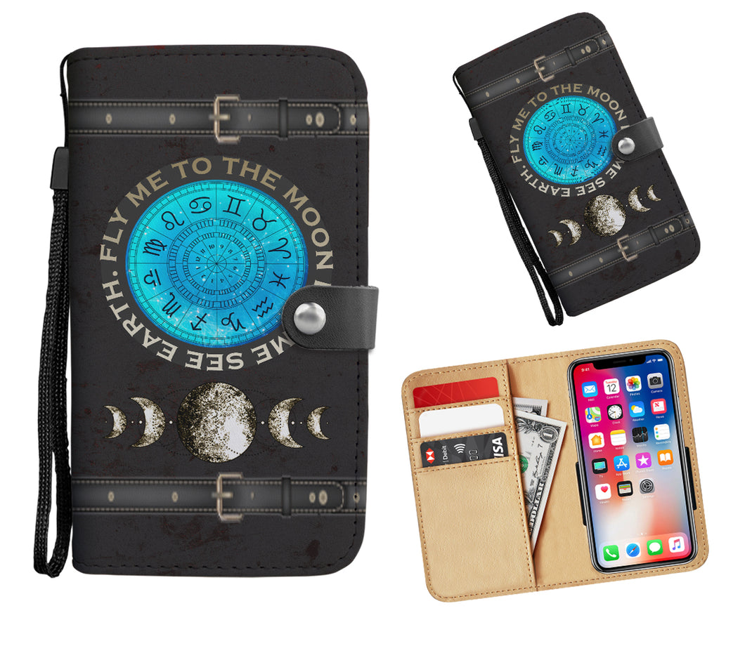 Zodiac + Silver Moon Phases Wallet Phone Case - Hand Made to Order - falooka